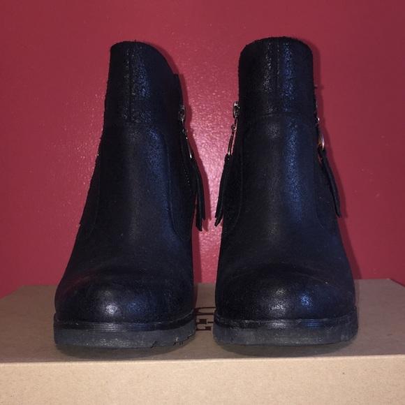 ba3dafa2b3b UGG Myrna Black Leather Concealed Wedge Boot Sz 7